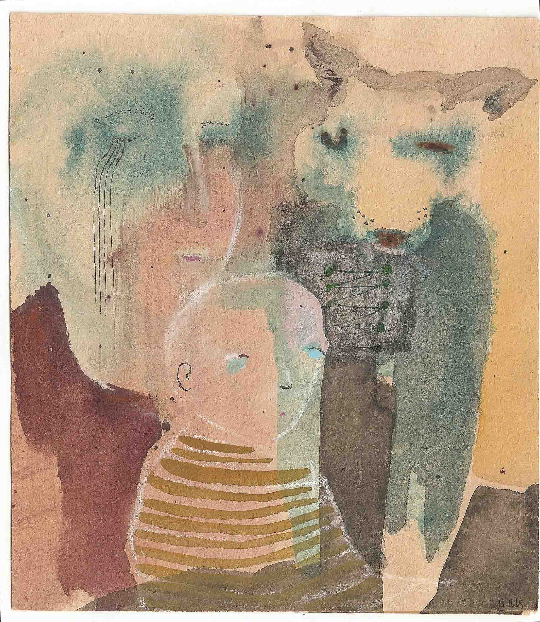 Familie, 19x17cm, Tusche, Kreide auf Papier