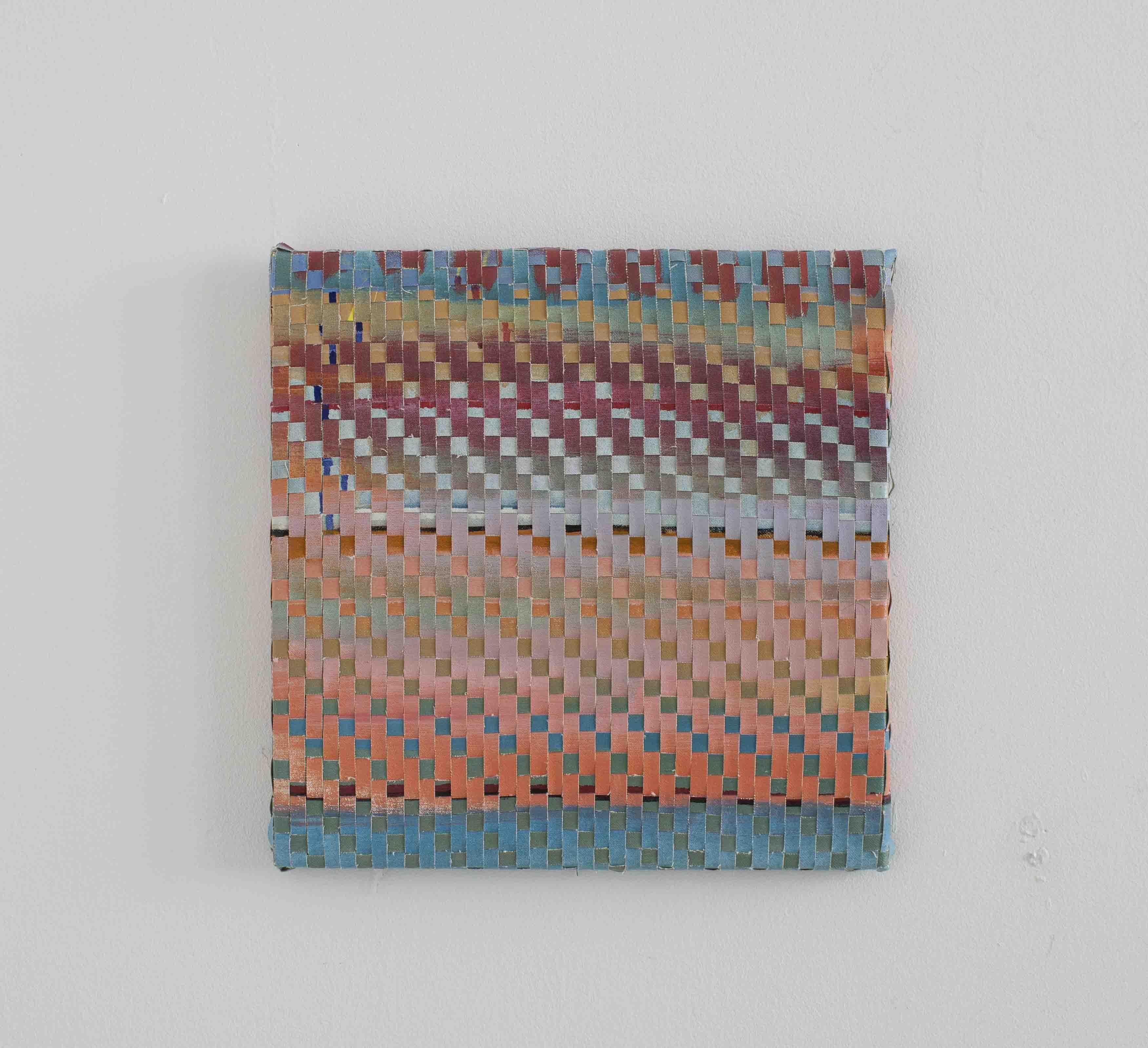 Vertikal horizontal_39x39cm_webstück aus 2 bemalten leinwänden