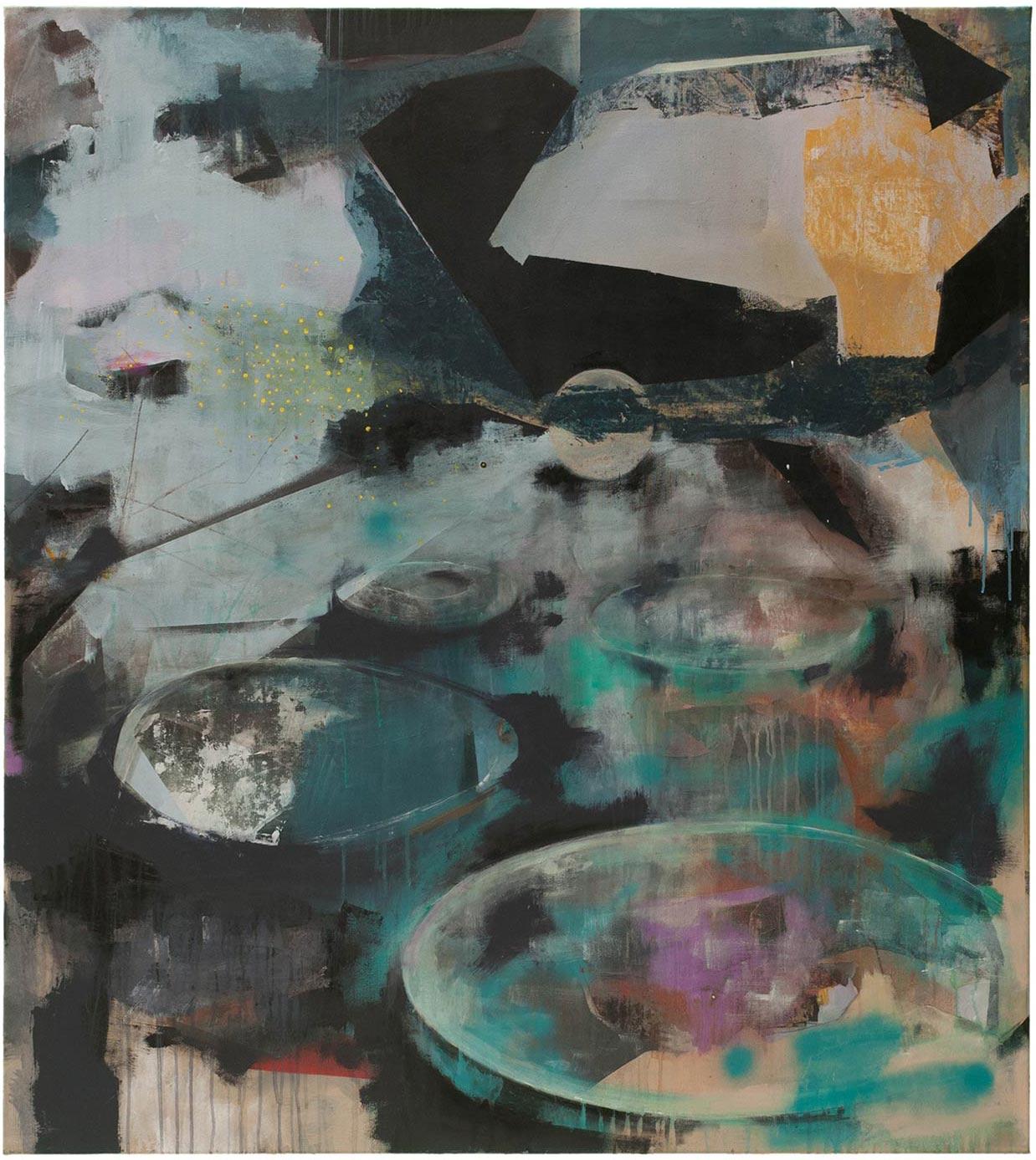 Schattenseite, 2014 (H1) Leimfarbe auf Leinen 110 x 135cm